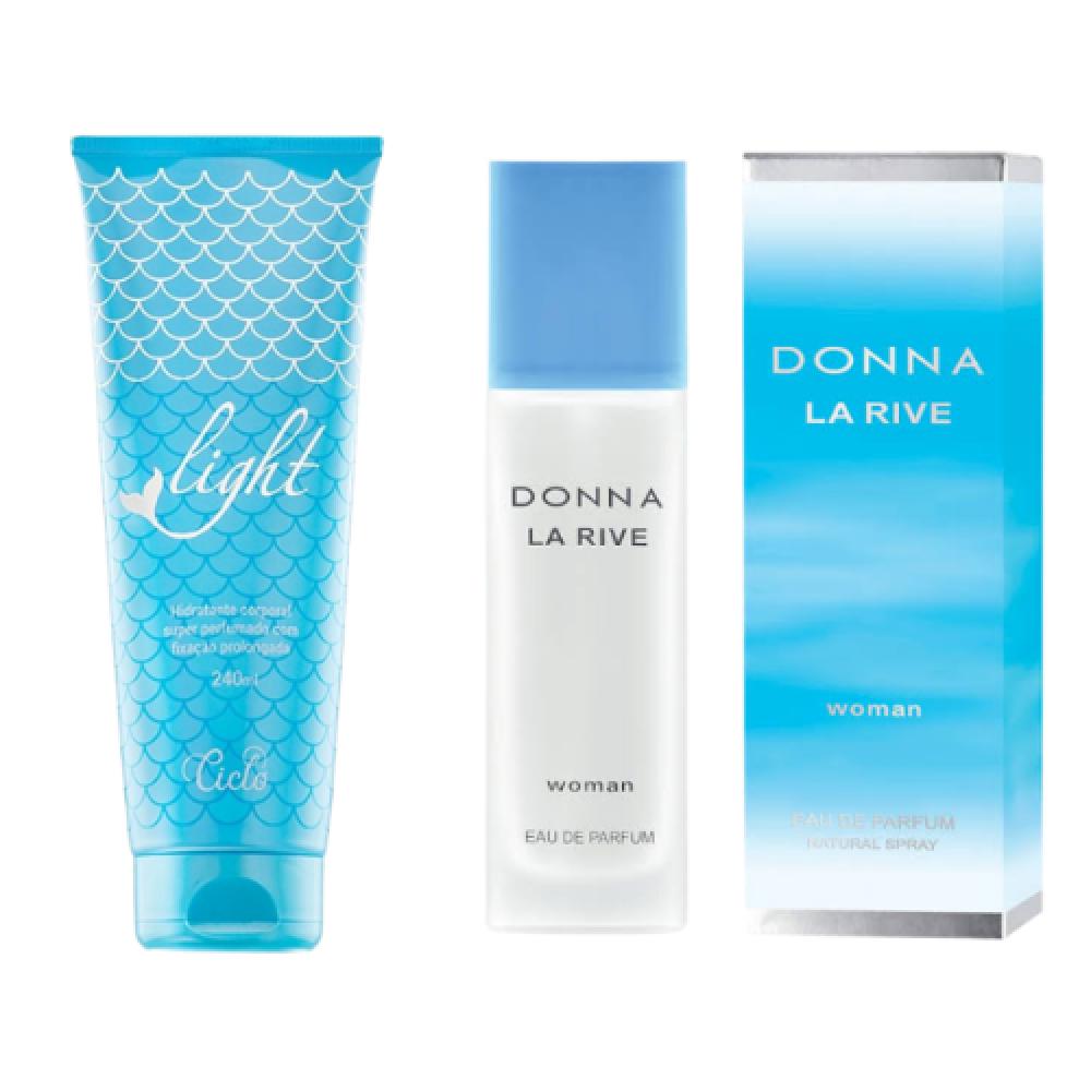 imagem Combo Loção Hidratante Super Perfumada Light 240 ml + Donna La Rive EDP 90 ml